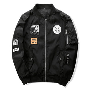 Black Pilot Bomber Jacket W/ Patch Designs