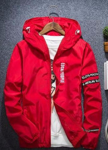 Red Solid WindBreaker W/ Hoodie