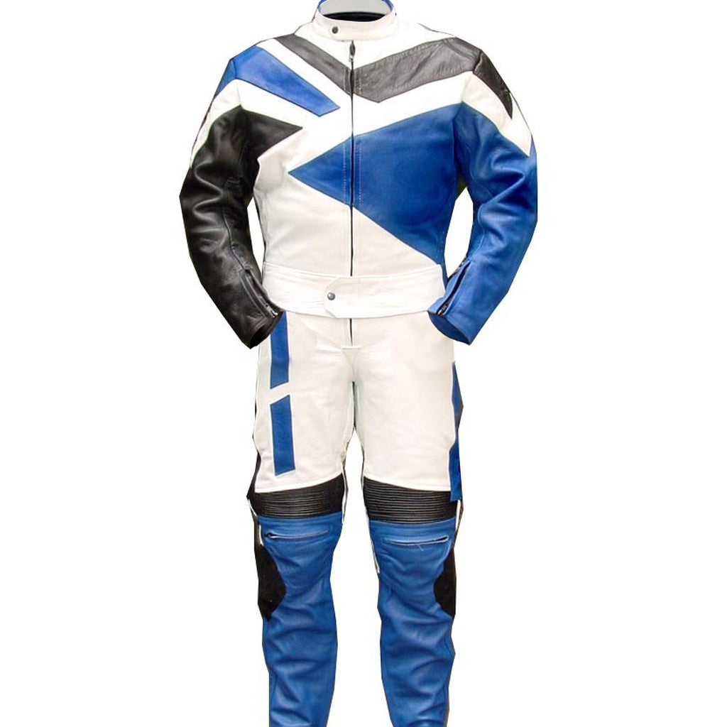 Blue Biker Racing Genuine Leather Suit