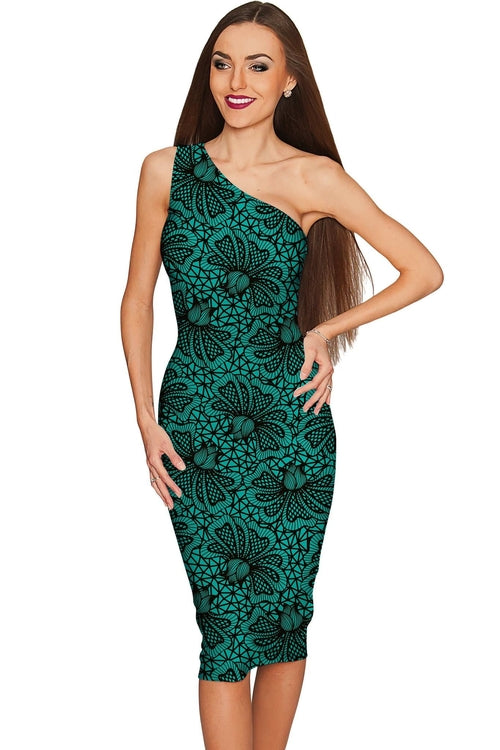 Green Soulmate Layla Lace Print Evening Dress - - Kimble's barter