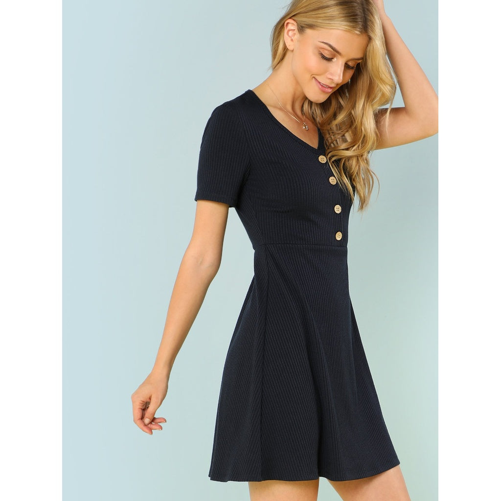 Black Button Up Ribbed Knit Dress