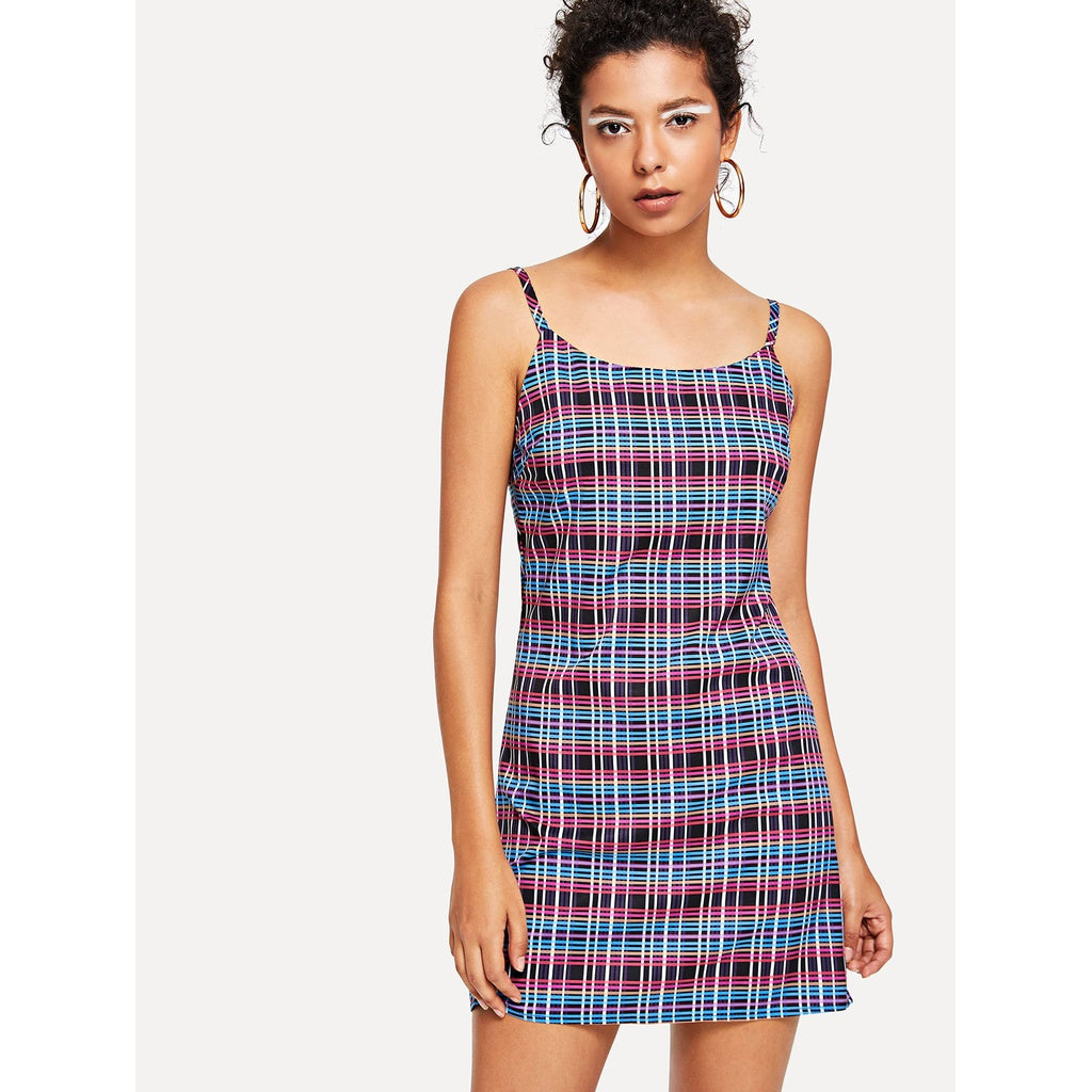 Sexy Checkered Cami Dress