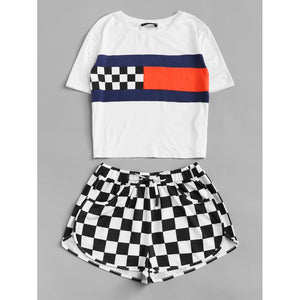 Color Block Tee & Checked Dolphin Shorts Set