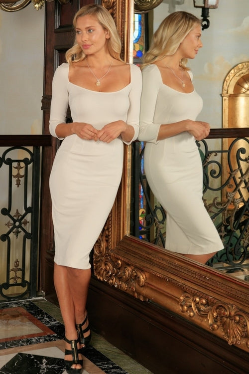 Ivory Beige Stretchy Three-Quarter Sleeve Bodycon - Kimble's barter