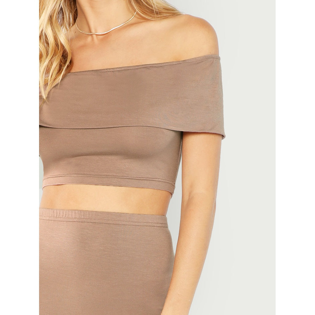 Women's Off Shoulder Crop Top Bodycon Skirt Set