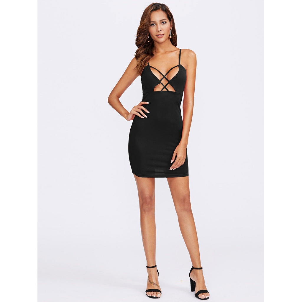 Black Caged Front Plunging Cami Dress
