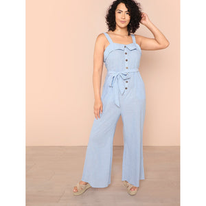 Button Front Foldover Front Wide Leg Striped Jumpsuit