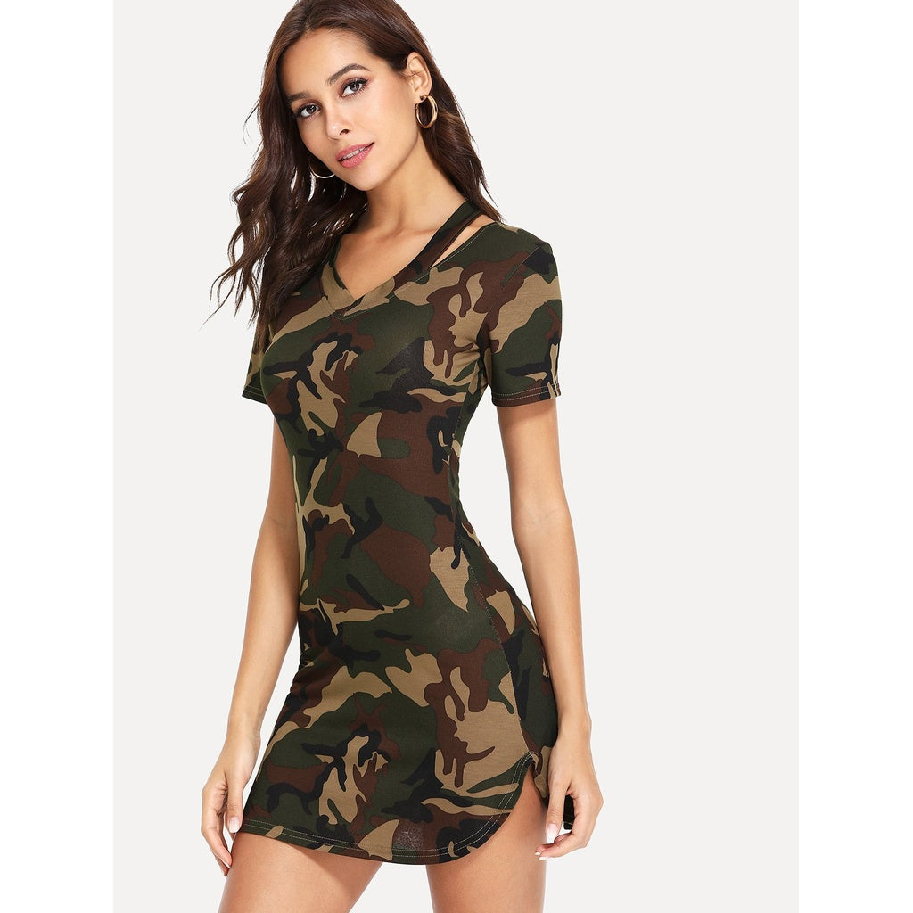 Camouflage Print Cut Out Dress