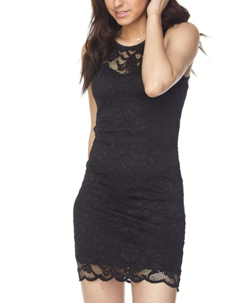 Penelope - Black Sleeveless Lace Bodycon Dress - Kimble's barter