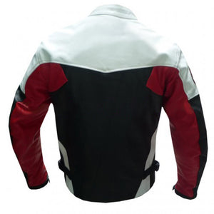 Black White Gray Biker Leather Jacket