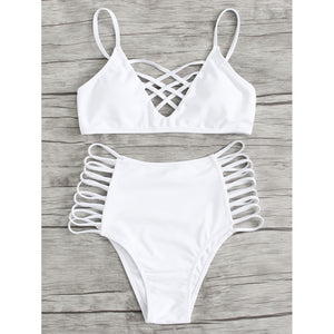 Caged Strappy Bikini Set - Kimble's barter
