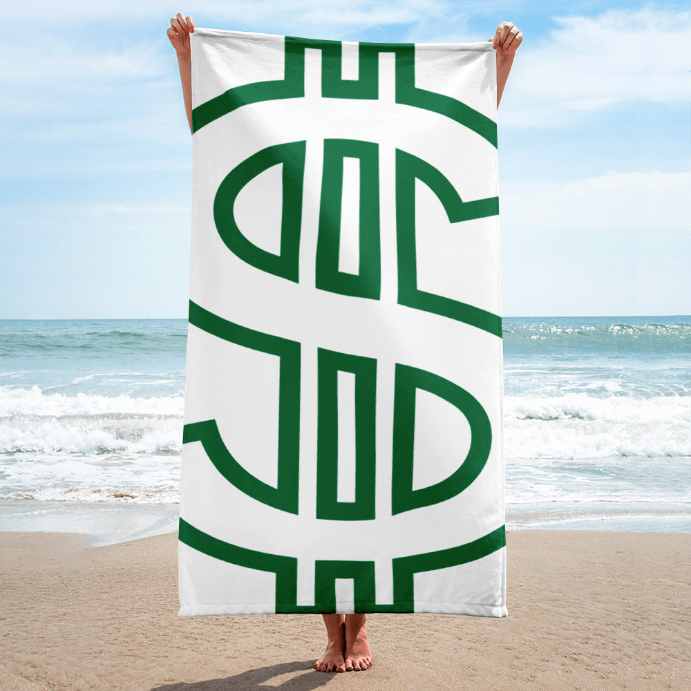 White And Green Money Sign Towel