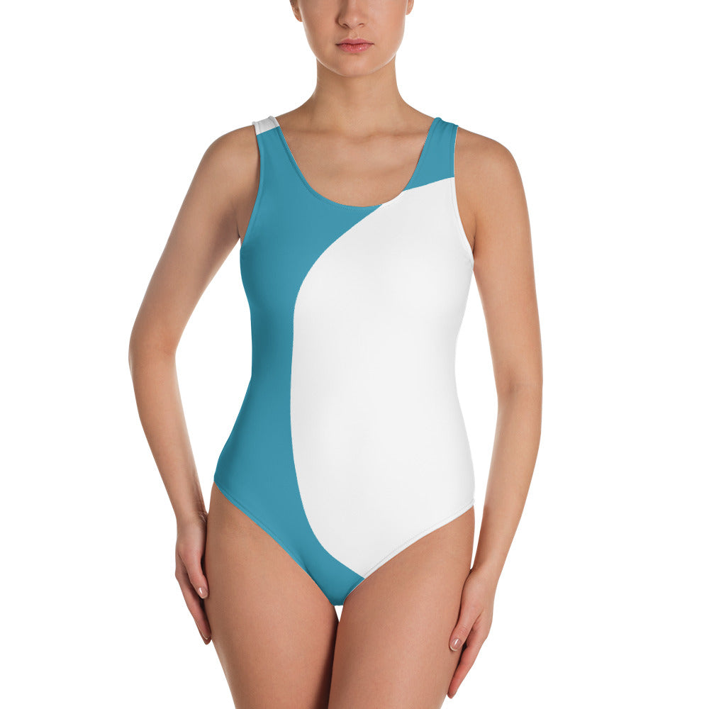 Women Blue And White One Piece Swimsuit