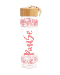 Bamboo Lid Glass Water Bottle - Pause