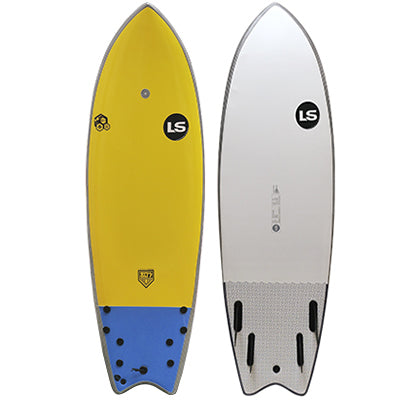 "Liquid Shredder 80s Guy Retro 5' 8"" Fish Quad-Fin Element Soft Surfboard - 4 Color Choices"