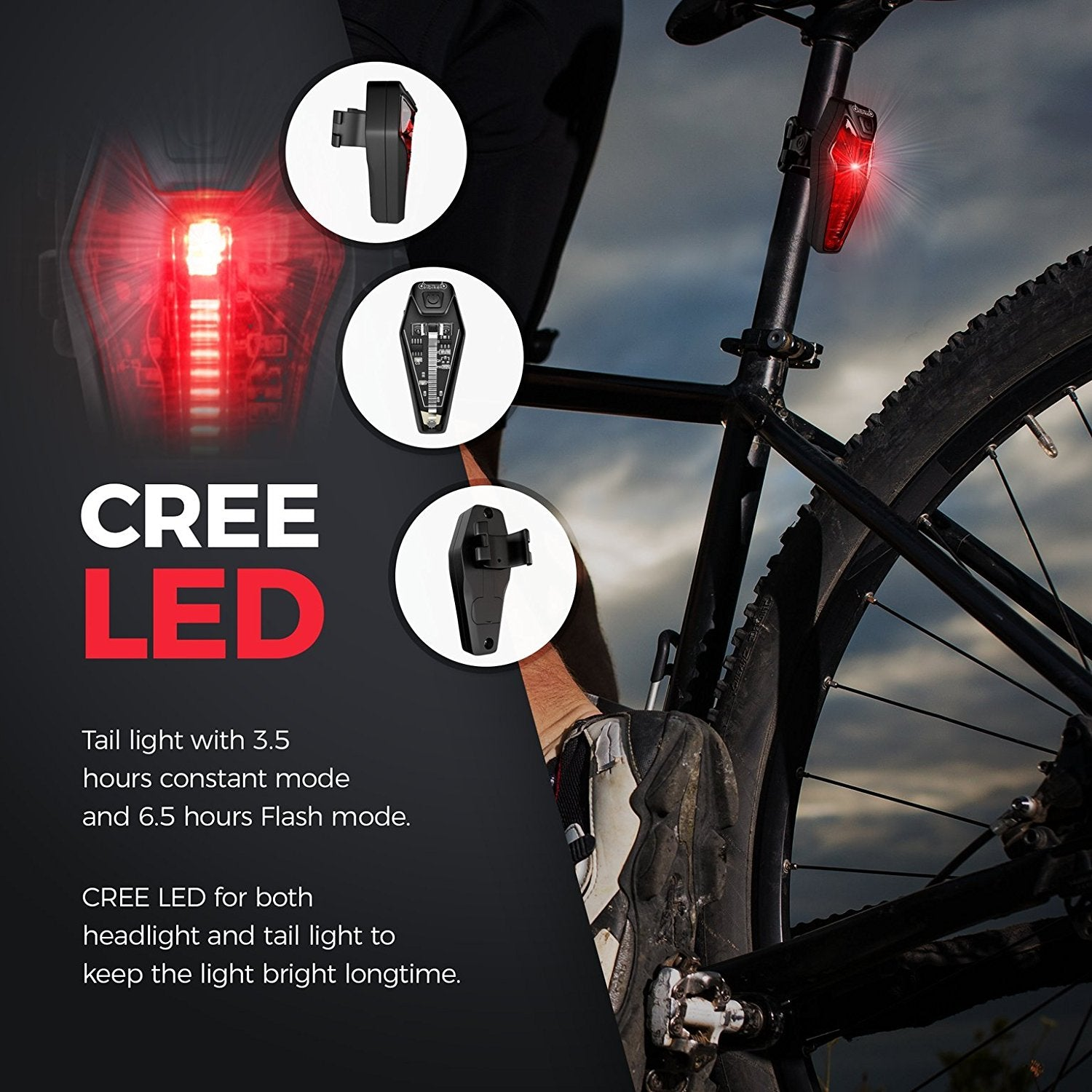 dp combinations set and headlight lights cycling bike led rear bicycle light rechargeable usb taillight battery lithium front