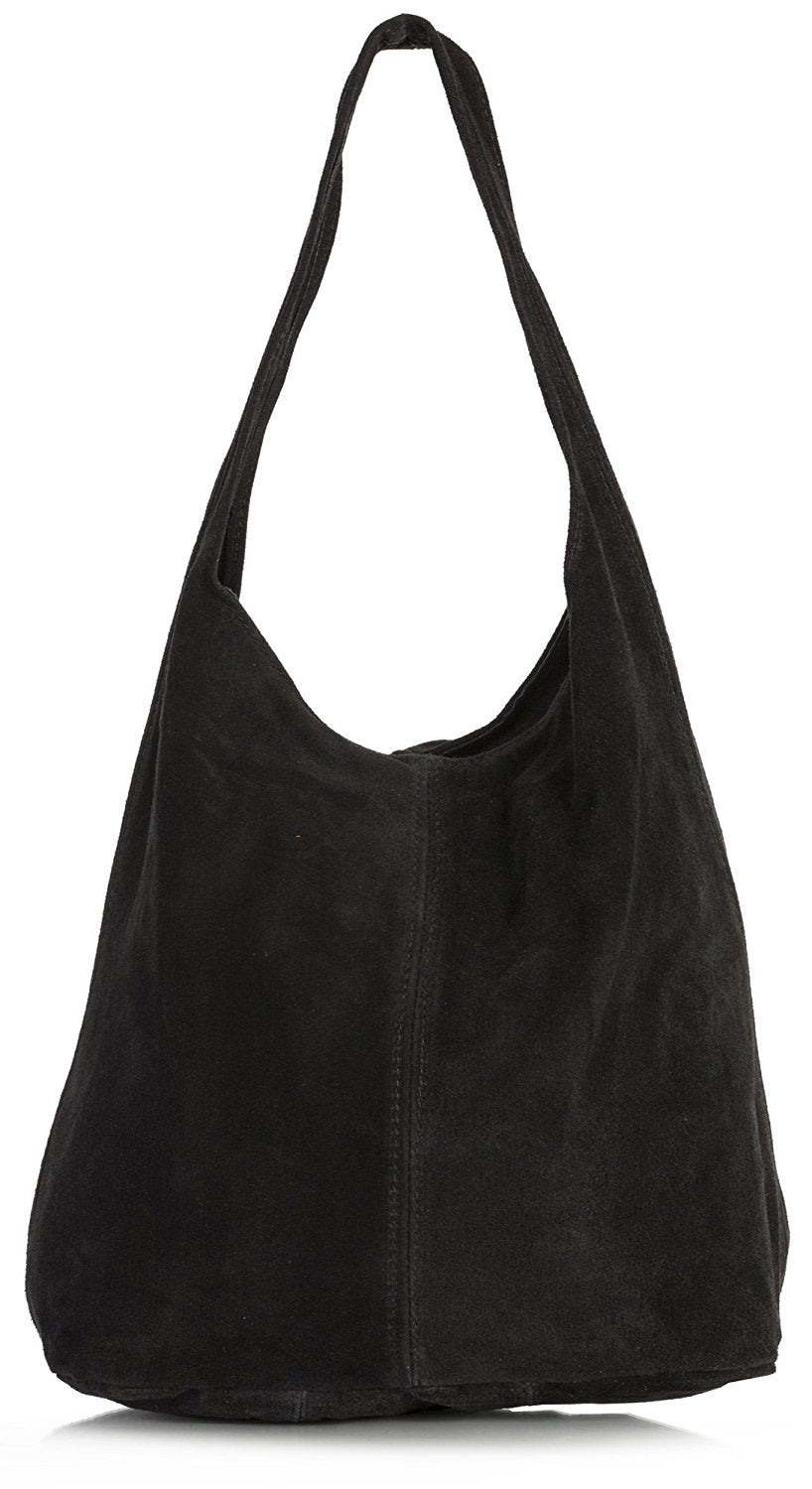 LiaTalia Large Real Italian Suede Leather Single Shoulder Strap Hobo Slouch  Bag - Shay fb61677b5fd6c