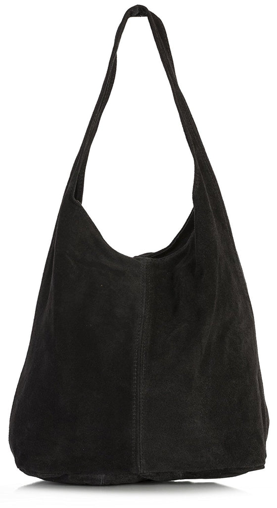 LiaTalia Large Real Italian Suede Leather Single Shoulder Strap Hobo Slouch  Bag - Shay 50e27a3a15be2