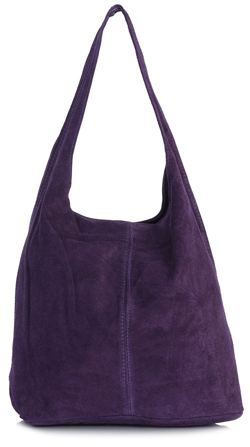 2f99f4a2ed LiaTalia Large Real Italian Suede Leather Single Shoulder Strap Hobo Slouch  Bag - Shay
