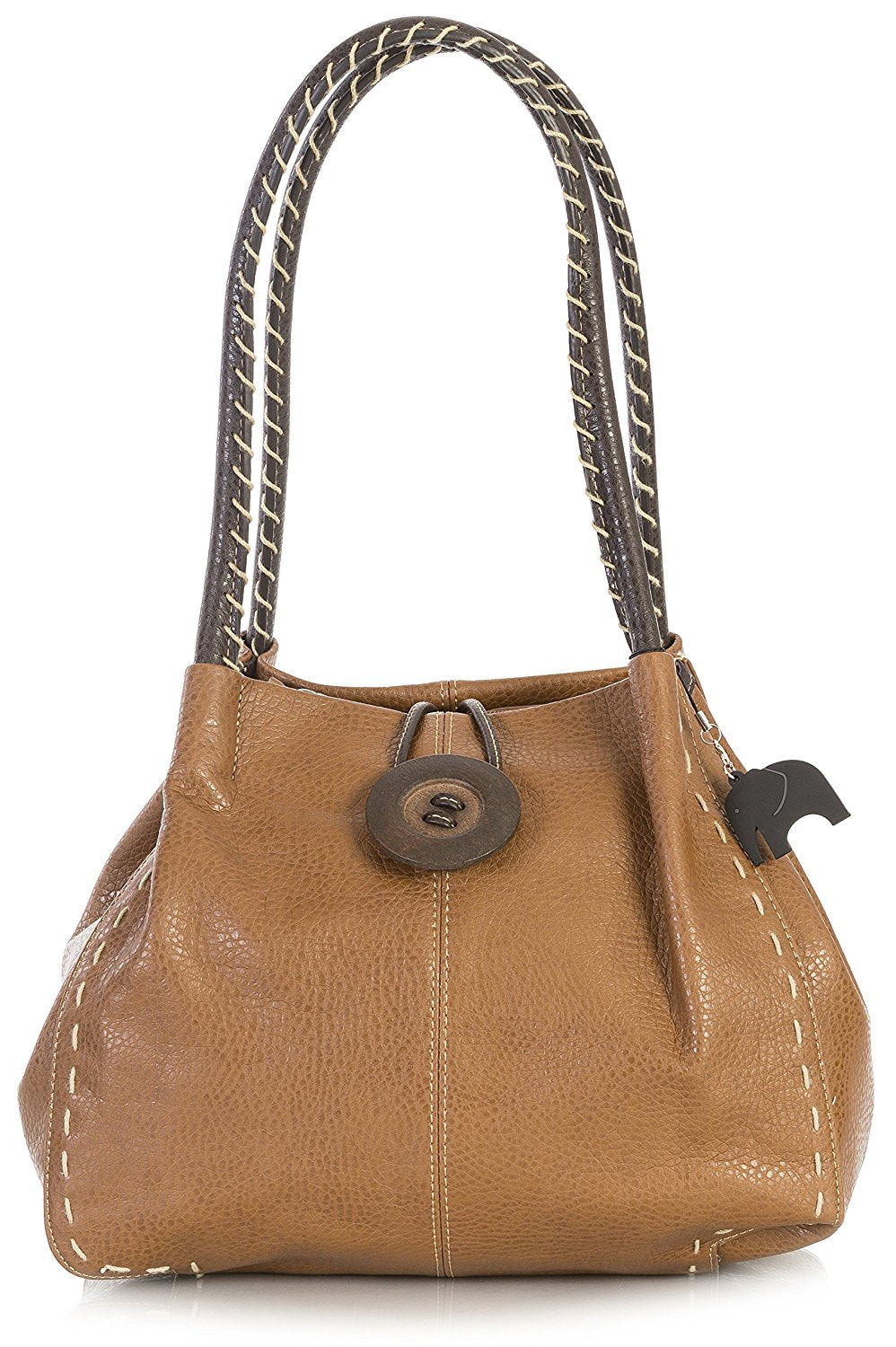 BHSL Womens Trendy Designer Boutique Large Button Detail Shoulder Bag With  Charm 497529f0ad622