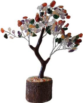 Mixed agate gemstone crystal tree