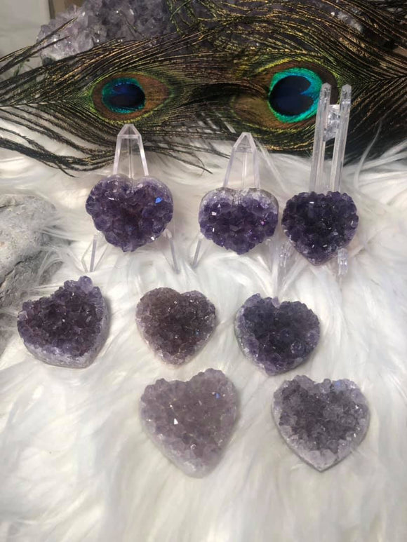 Druzy amethyst hearts - Angel Eyes Shop