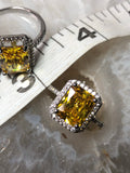 Citrine faceted emerald cut ring - Angel Eyes Shop