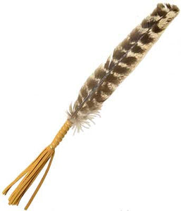 Smudge feather leather wrapped handle - Angel Eyes Shop