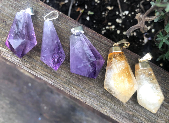 Hexagon faceted Amethyst or citrine pendant - Angel Eyes Shop