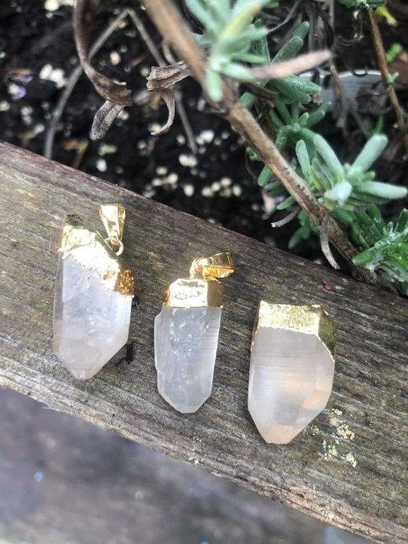 Gold plated Lemurian point pendant - Angel Eyes Shop