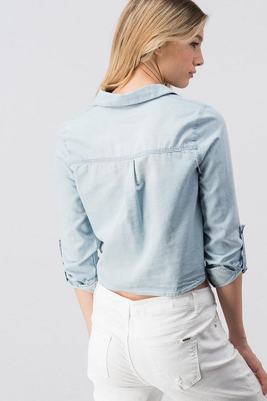 Light Denim Roll Up Sleeve Shirt