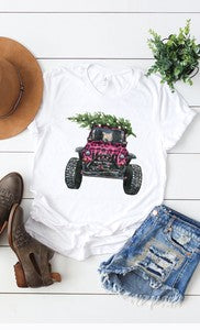 Pink Leopard Christmas Tree Jeep Tee
