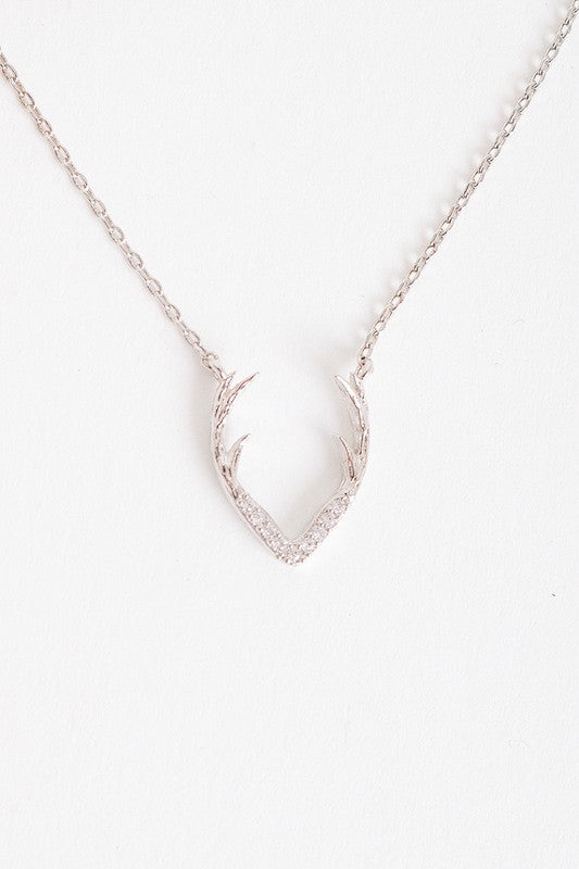 Silver Dainty Delicate Antler Pendant