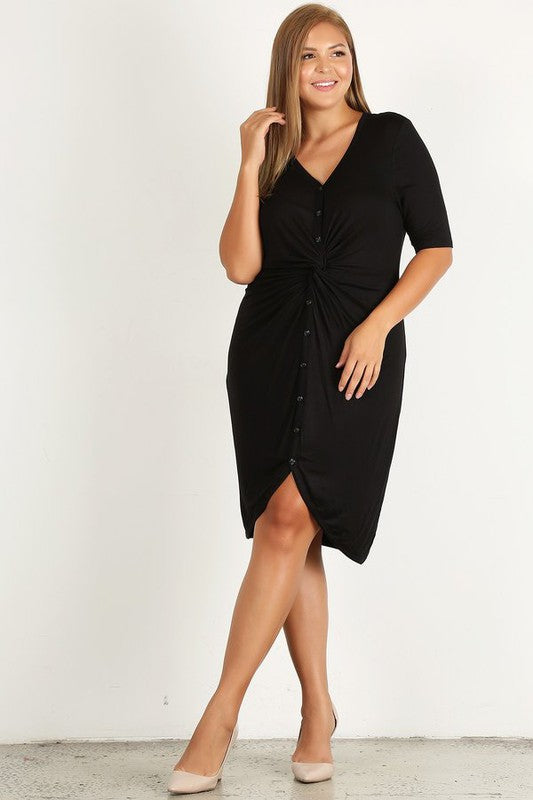Plus Black Button Down Front Twist Dress