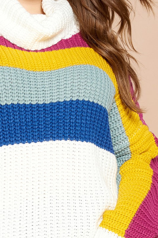 Plus Ivory Color-Block Sweater