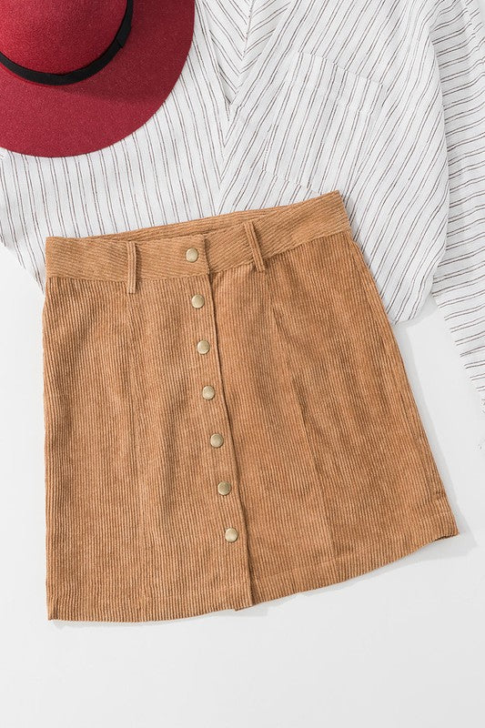 Camel Button Down Corduroy Skirt