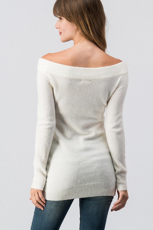 Off Shoulder Vneck Cream Sweater