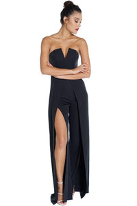 Black Open Slit Jumpsuit