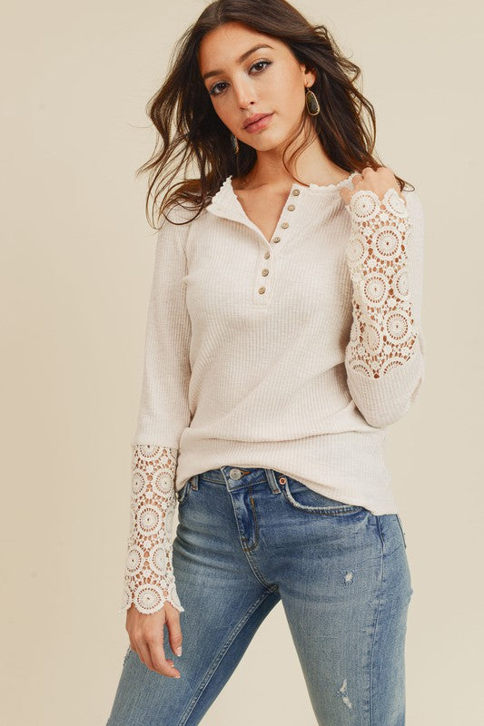 Ivory Ribbed Crochet Lace Top
