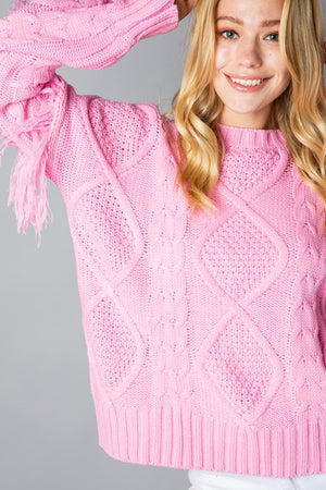Cool Pink Fringe Sleeve Cable Knit Sweater