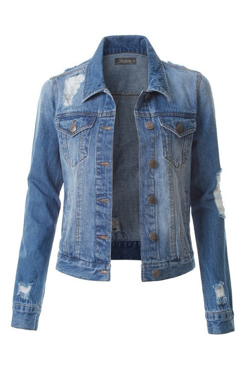 Vintage Distressed Boyfriend Denim Jacket
