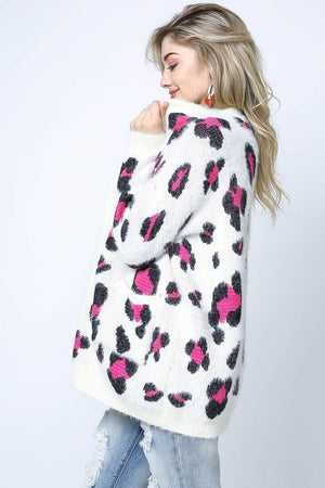 Ivory Fuchsia Animal Print Cardigan