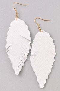 White Feather Leather Earring