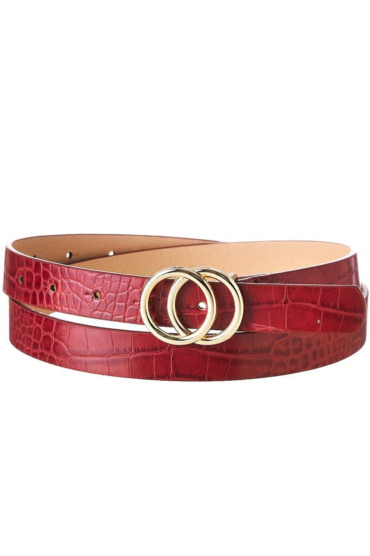 Burgundy Faux Crocodile Double O Belt