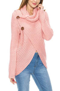 Pink Cowl Neck Button Detail