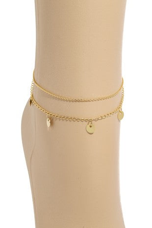 Gold Double Coin Charm Anklet