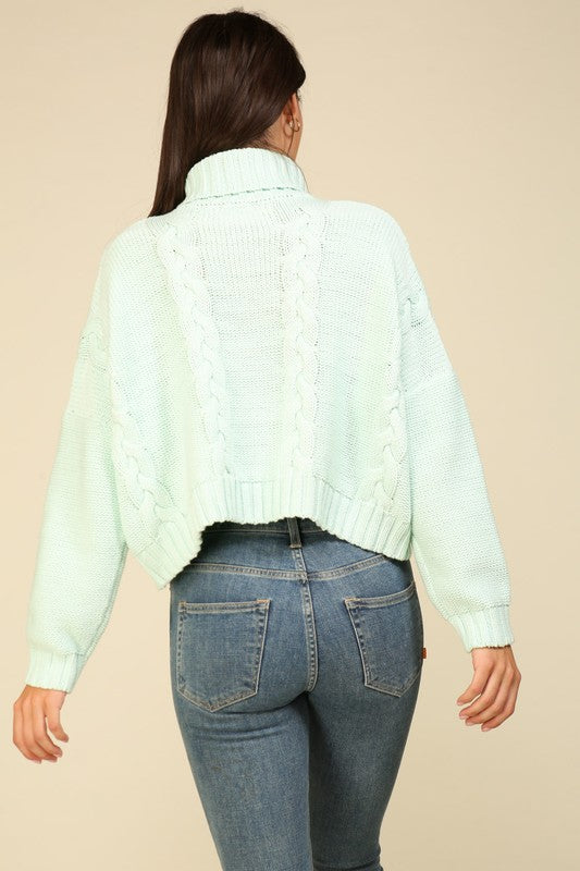 Mint Cable Knit Turtleneck Sweater
