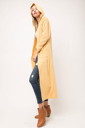 Mustard Hooded Cardigan