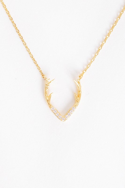 Gold Dainty Delicate Antler Pendant