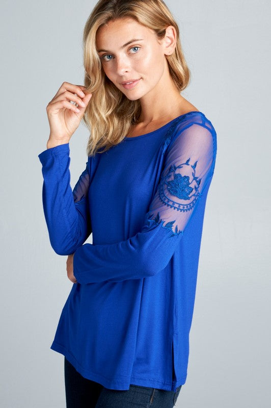 Royal Blue Floral Embroidered Sheer Sleeve Top